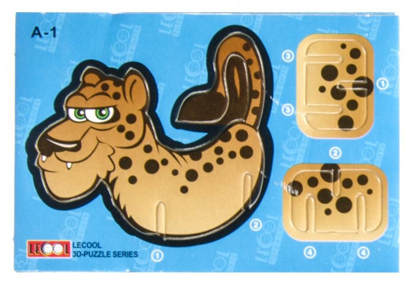 LG Imports 3D puzzel panter 10,5 cm karton bruin 7 stukjes