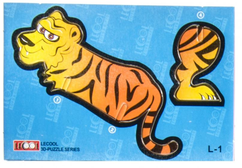 LG Imports 3D puzzel tijger 10,5 cm karton oranje 7 stukjes