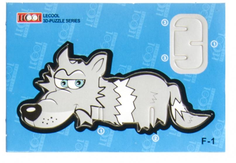 LG Imports 3D puzzel wolf junior 10,5 cm karton grijs 7 stukjes