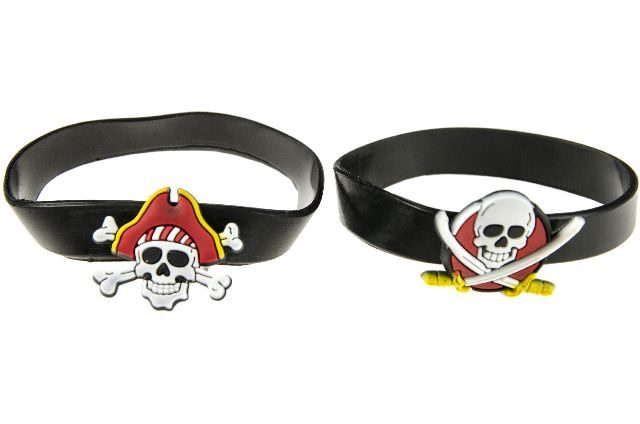 LG Imports armband piraat jongens 6,5 cm rubber zwart 3 stuks