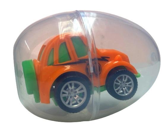 LG Imports auto in verrassingsei jongens 6 x 4,5 cm oranje