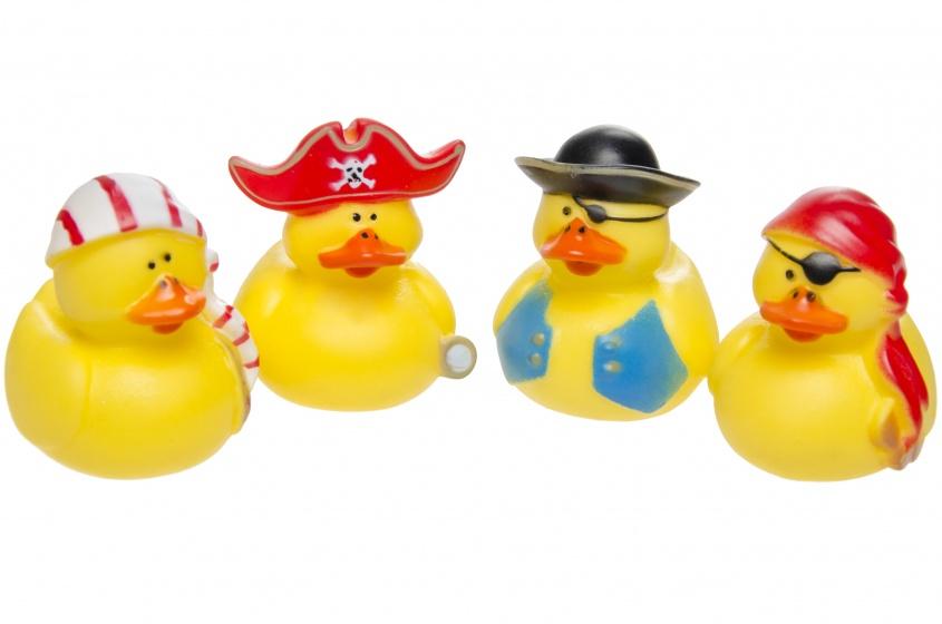 LG Imports badeendjes piraten 7 cm geel 4 stuks