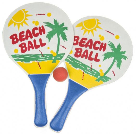 LG Imports beachballset junior 34 cm hout blauw 3 delig