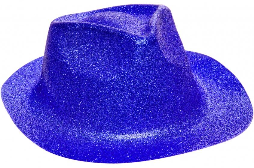 LG Imports fedora glitterhoed unisex blauw one size 20 cm