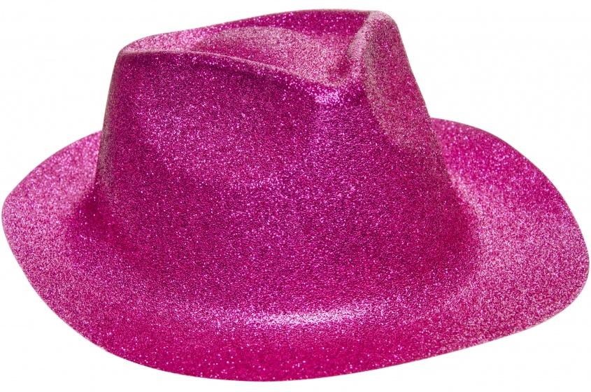 LG Imports fedora glitterhoed unisex fuchsia one size 20 cm