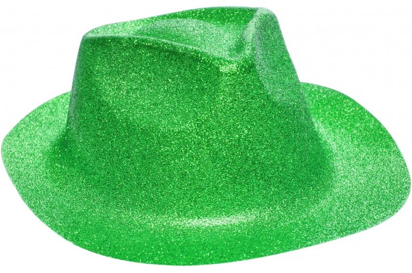 LG Imports fedora glitterhoed unisex groen one size 20 cm