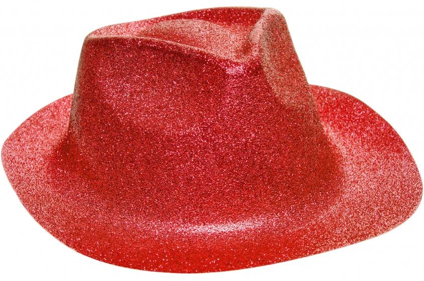 LG Imports fedora glitterhoed unisex rood one size 20 cm