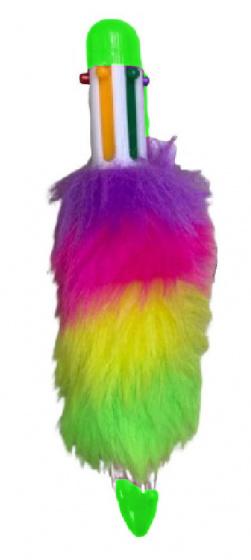 LG Imports Fluffy balpen groen met 6 kleuren inkt