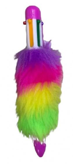 LG Imports Fluffy balpen paars met 6 kleuren inkt