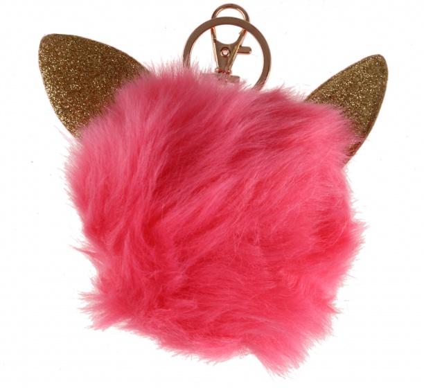 LG Imports fluffy sleutelhanger met kattenoren roze 8 cm