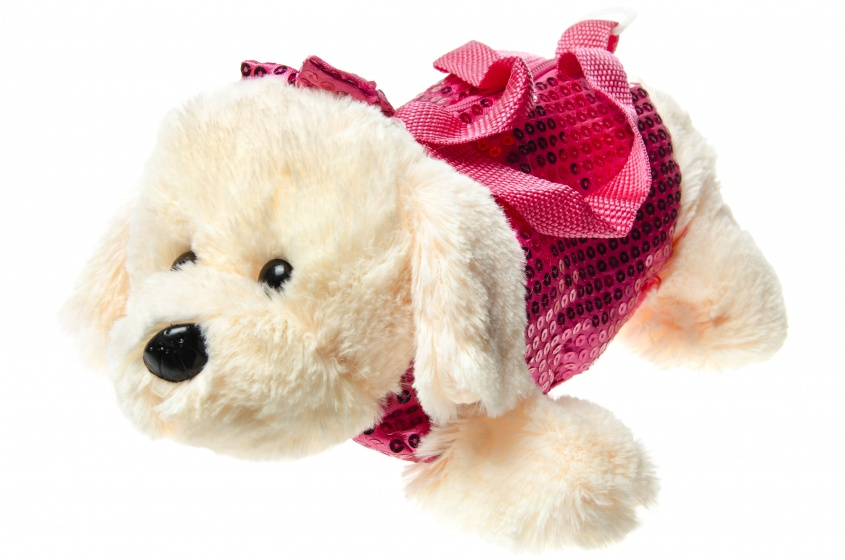 LG Imports handtas witte hond 30 cm fuchsia kopen