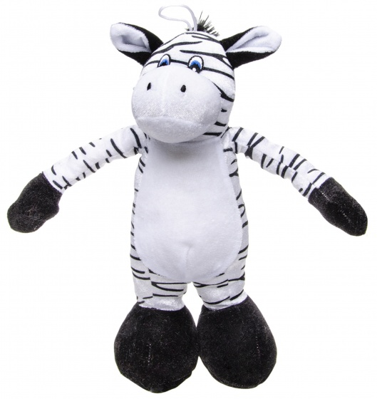 LG Imports knuffel zebra zwart/wit 30 cm
