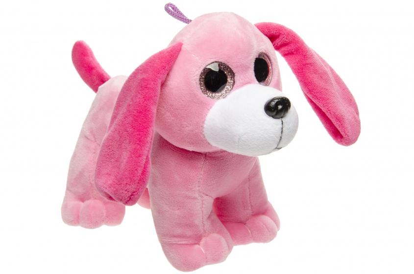 LG Imports knuffelhond roze 22 cm