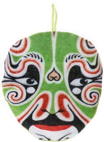 LG Imports knuffelmasker Samurai jongens 14 cm pluche groen