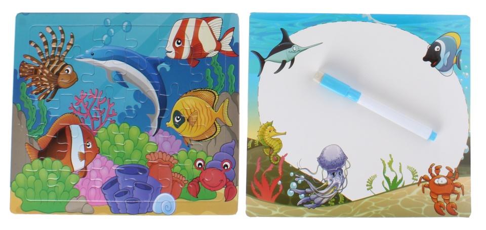 LG Imports legpuzzel met tekenbord vissen 30 stukjes
