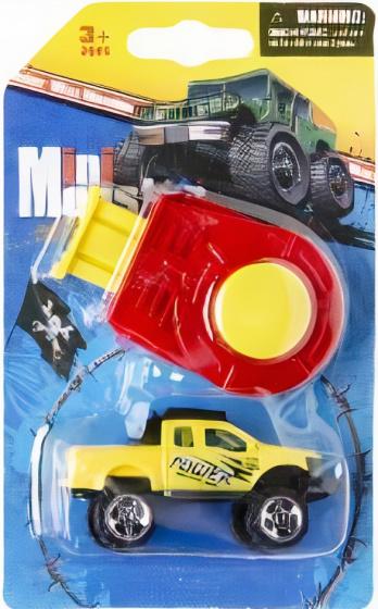LG Imports monstertruck Mini Monster jongens 8 cm geel 2 delig