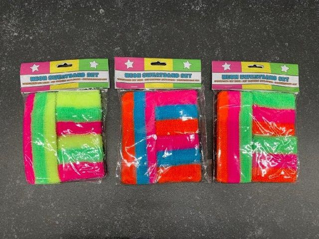 neon sweatbands pink/green/yellow