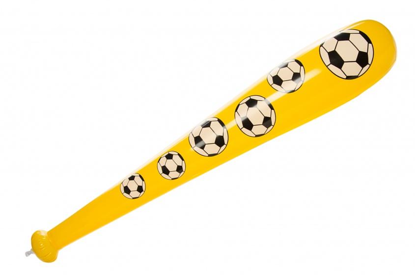 LG Imports opblaasbare honkbalknuppel ballenprint geel 85 cm kopen