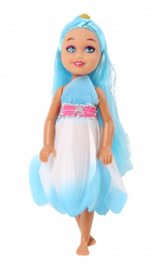LG Imports pop Bloemenmeisje blauw 15 cm