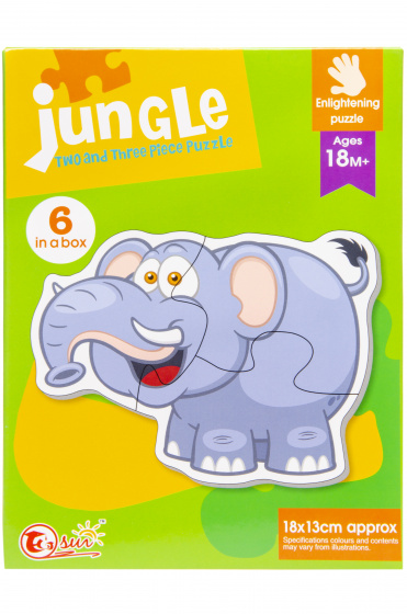 LG Imports puzzel olifant 18 x 13 cm karton groen/grijs 6 delig