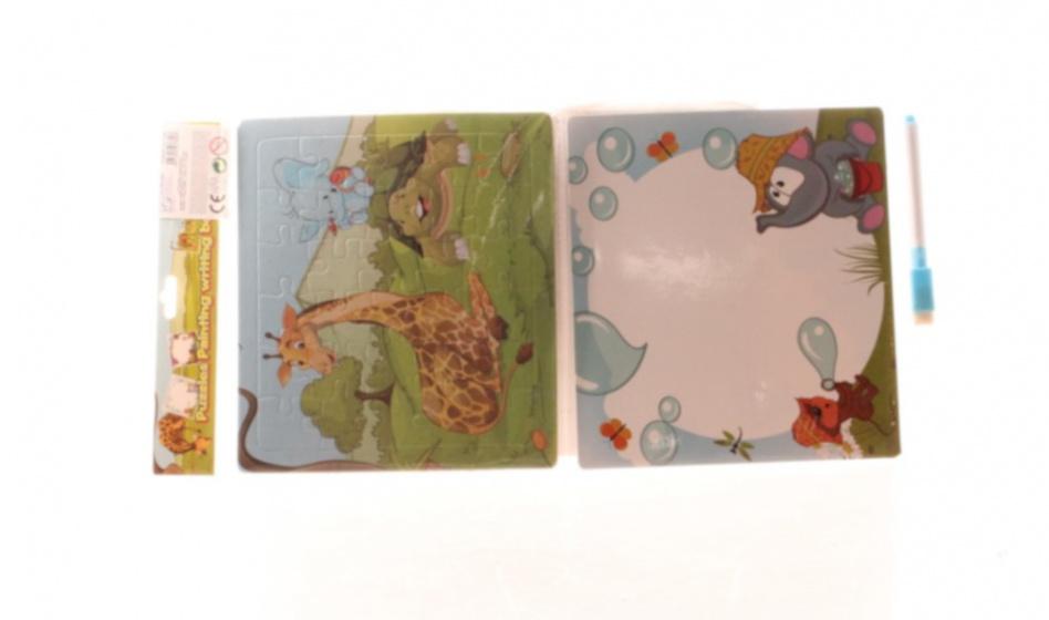 LG Imports puzzel/schrijfbord dieren 19 cm karton 35 delig