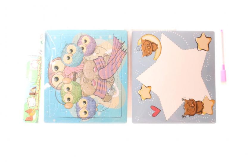 LG Imports puzzel/schrijfbord uilen/beren 19x17 cm karton