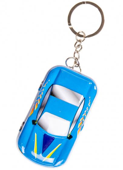 LG Imports sleutelhanger autoblikje 6,5 x 4 cm metaal blauw