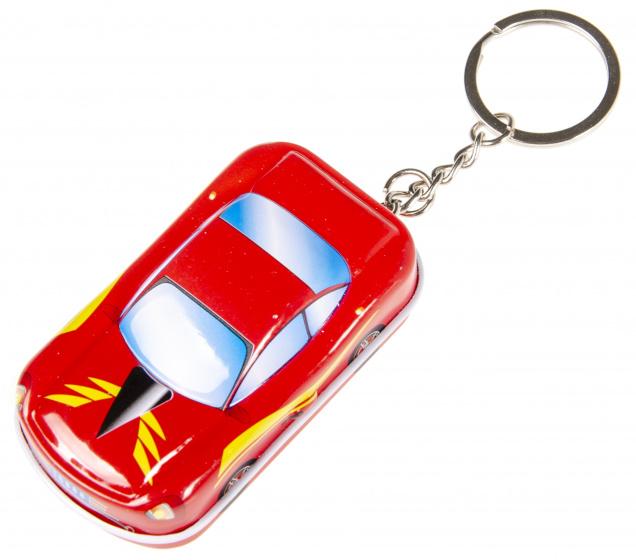 LG Imports sleutelhanger autoblikje 6,5 x 4 cm metaal rood