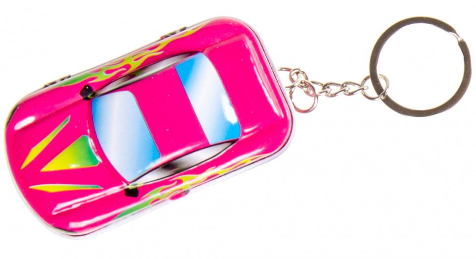 LG Imports sleutelhanger autoblikje 6,5 x 4 cm metaal roze