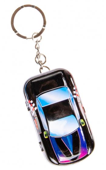 LG Imports sleutelhanger autoblikje 6,5 x 4 cm metaal zwart