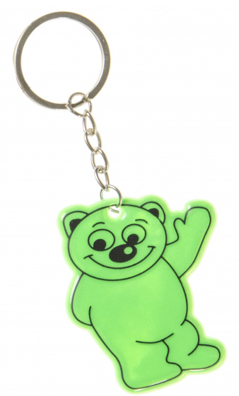 keychain bear junior 6 cm rubber green