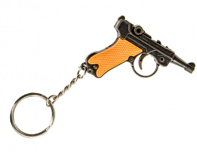 LG Imports sleutelhanger glock pistool 6,5 cm bruin/zwart