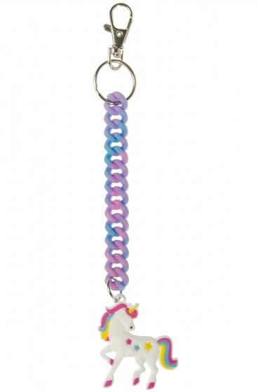 LG Imports sleutelhanger spiraal eenhoorn blauw/roze 18 cm