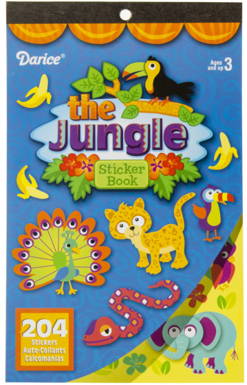 sticker book jungle junior cardboard blue 204 stickers
