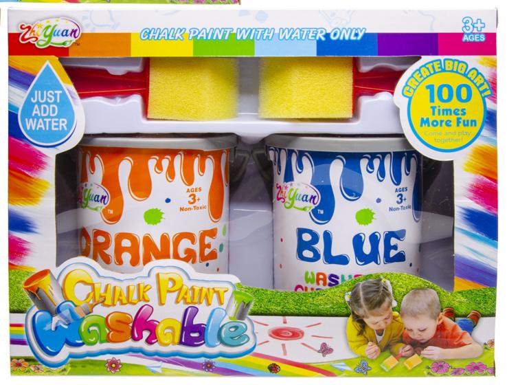 LG Imports stoepkrijtverf junior 12 cm oranje/blauw 2 delig