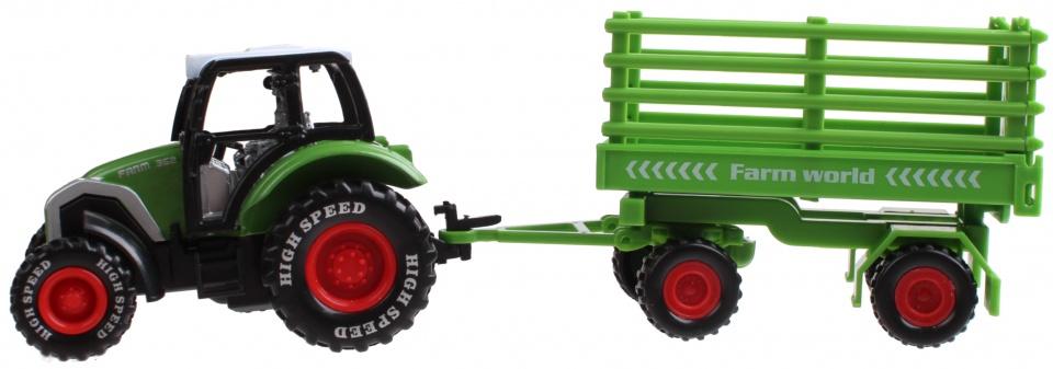 LG Imports tractor met aanhanger 19 cm groen