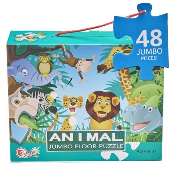 LG Imports vloerpuzzel Animal 90 x 60 cm 48 delig multicolor kopen