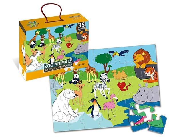 LG Imports vloerpuzzel Zoo Animals 44 x 60 cm 35 delig multicolor kopen