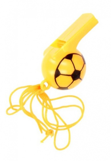 soccer whistle boys 25 cm yellow 2-piece