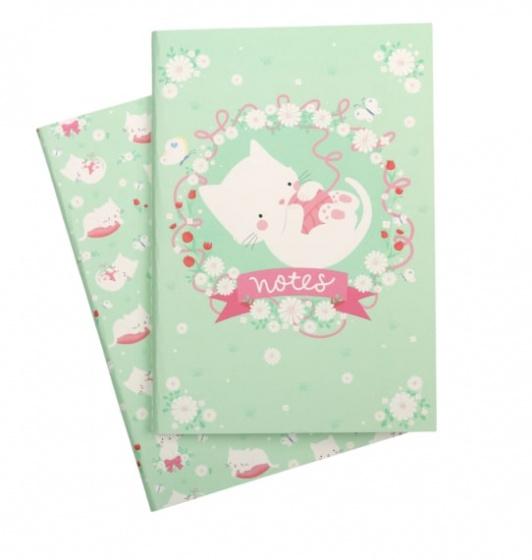 A Little Lovely Company schriften Kat junior 21 cm papier groen 2 delig