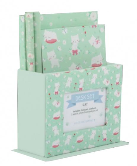 A Little Lovely Company schrijfset Kat junior papier groen 5 delig