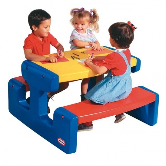 Little Tikes grote picknicktafel primary 93 x 100 x 55 cm