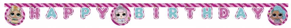 L.O.L. Surprise garland Happy Birthday 2 meter pink