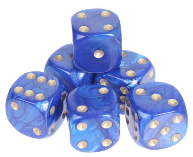 Longfield Games 6 Parelmoer Dobbelstenen Blauw 16mm In Doosje