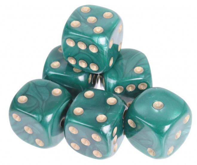 Longfield Games 6 Parelmoer Dobbelstenen Groen 16mm In Doosje