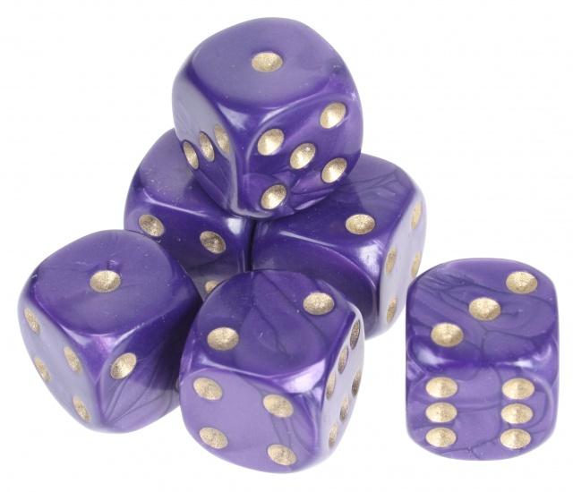 Longfield Games 6 Parelmoer Dobbelstenen Paars 16mm In Doosje