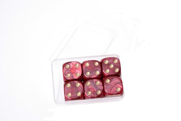 Longfield Games 6 Parelmoer Dobbelstenen Rood 16mm In Doosje