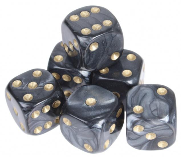 Longfield Games 6 Parelmoer Dobbelstenen Zwart 16mm In Doosje