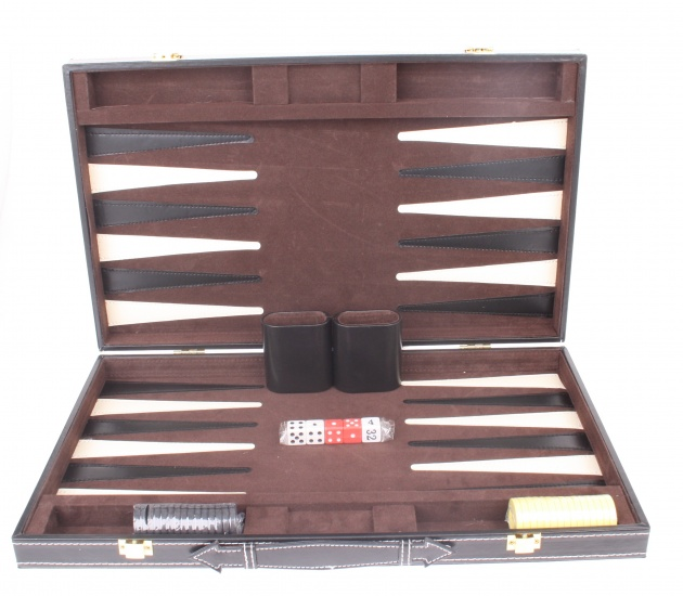 Longfield Games Backgammon Set De Luxe 18 Inch Zwart