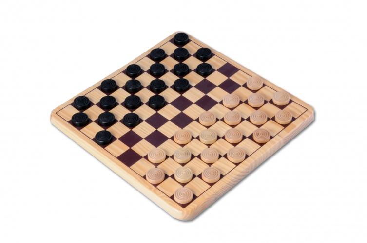 Longfield Games houten damspel 30 x 30 cm